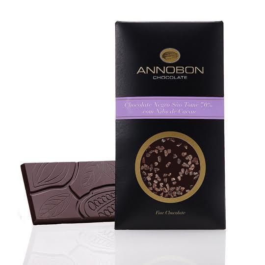 Tablete de Chocolate Negro de São Tomé 70% e NIBS de Cacau