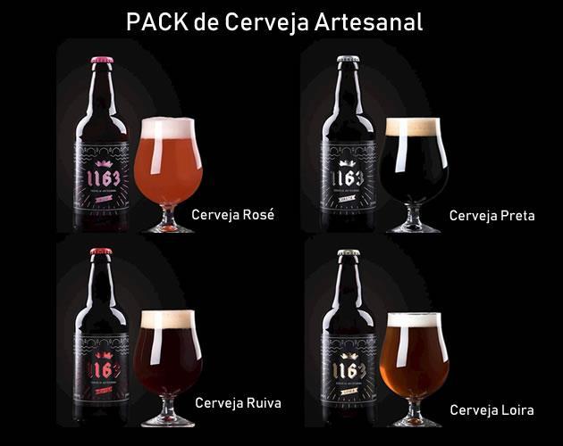 Pack de Cerveja Artesanal (Loira, Rosé, Preta, Ruiva)